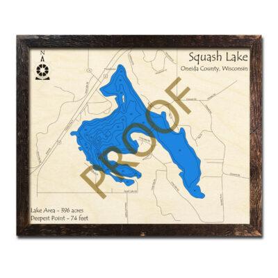 Squash Lake WI 3d wood map