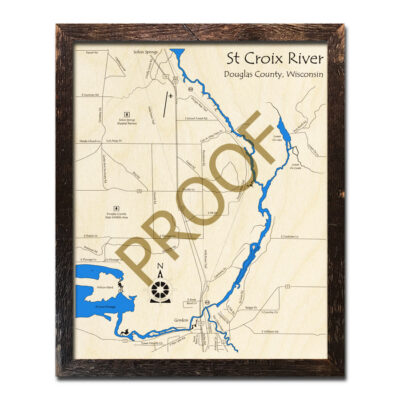 St Croix River 3d wood map