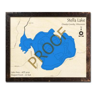 Stella Lake WI 3d wood map