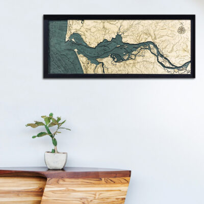 Columbia River map, Columbia River 3d wood poster
