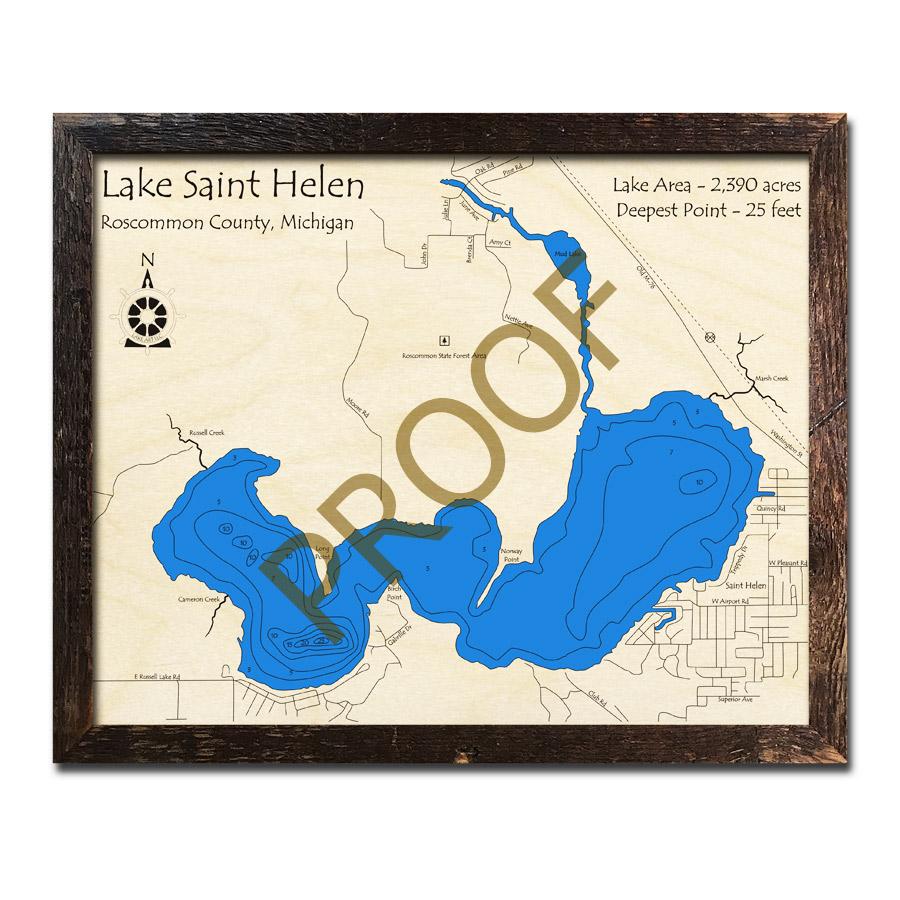 Lake St Helen Mi 3d Wood Map Laser Etched Nautical Decor