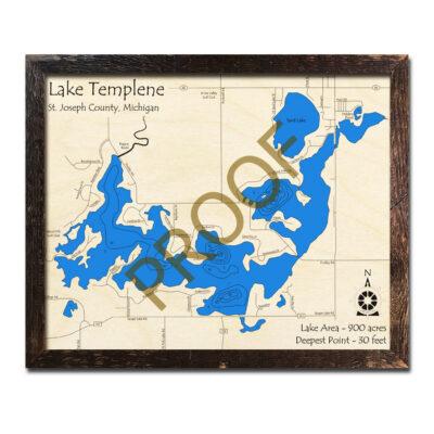 Lake Templene 3d wood map