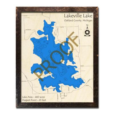 Lakeville Lake 3d wood map