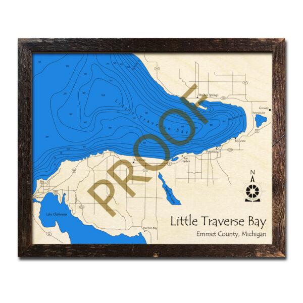 Little Traverse Bay 3d wood map Lake Michigan