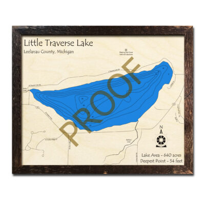 Little Traverse Lake 3d wood map