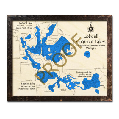 Lobdell Chain of Lakes 3d wood map