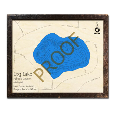 Log Lake MI 3d wood map