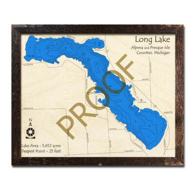 Long Lake Michigan 3D Wooden Map