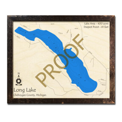 Long Lake Michigan Nautical Wood Map 3d