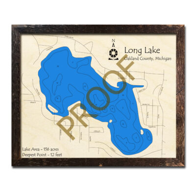 Long Lake MI 3d wood map