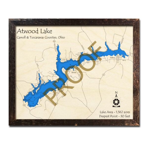 Atwood Lake 3d WOOD MAP