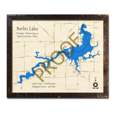 Berlin Lake OH 3D Wood Map
