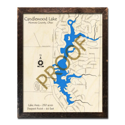 Candlewood Lake Ohio 3d Wood Map