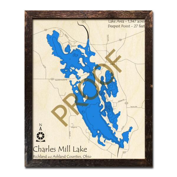 Charles Mill Lake 3d Wood Map