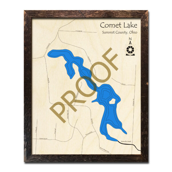 Comet Lake Ohio 3d wood map