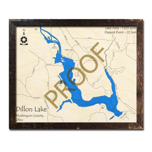 Dillon Lake Ohio 3d wood map