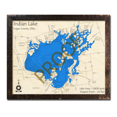 Indian Lake Ohio 3d wood map