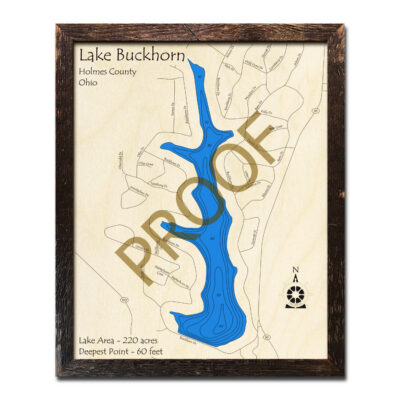 Lake Buckhorn OH 3D Wood Map