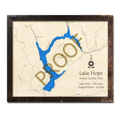 Lake Hope Ohio 3D Wood Map