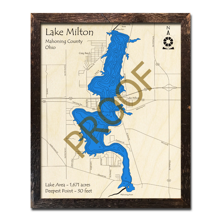 Lake Milton Ohio Map.Lake Milton Oh 3d Wood Map Laser Etched Nautical Decor