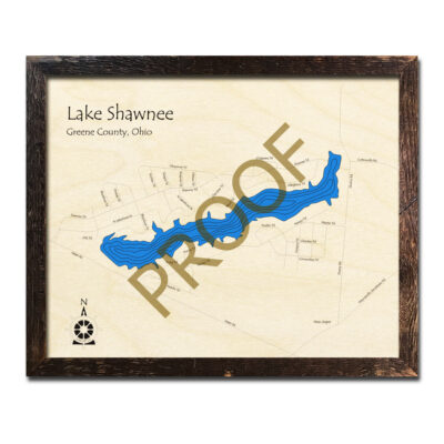 Lake Shawnee Ohio 3D wood map