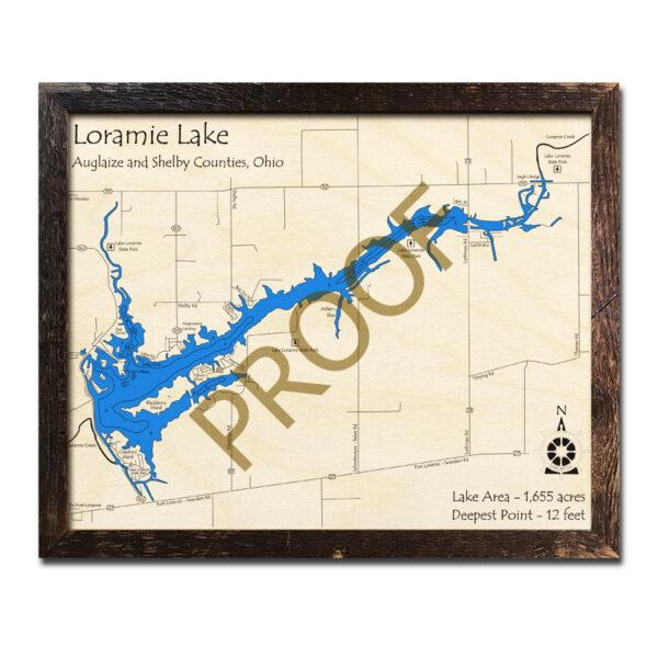 Loramie Lake 3d wood map