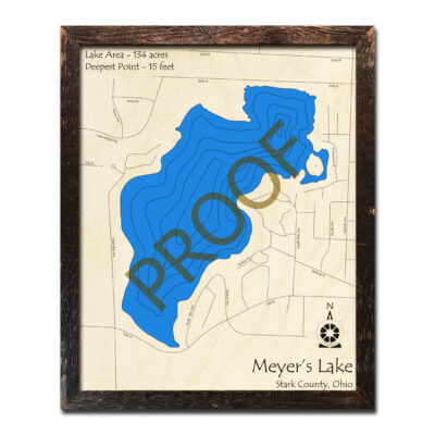 Meyers Lake OH 3D Wood Map