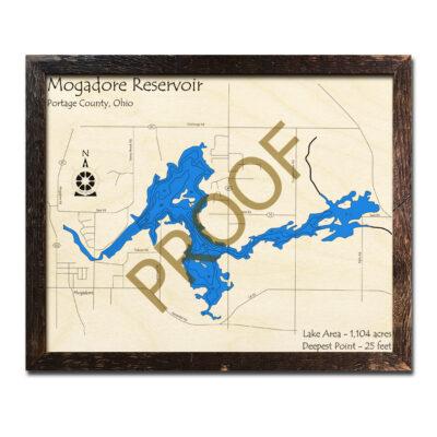 Mogadore Reservoir 3D Wood Map