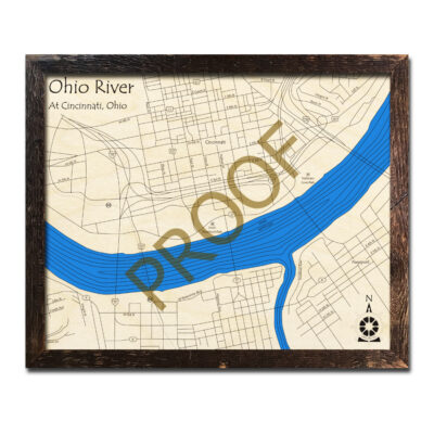 Ohio River 3D Wood Map near Cincinnati
