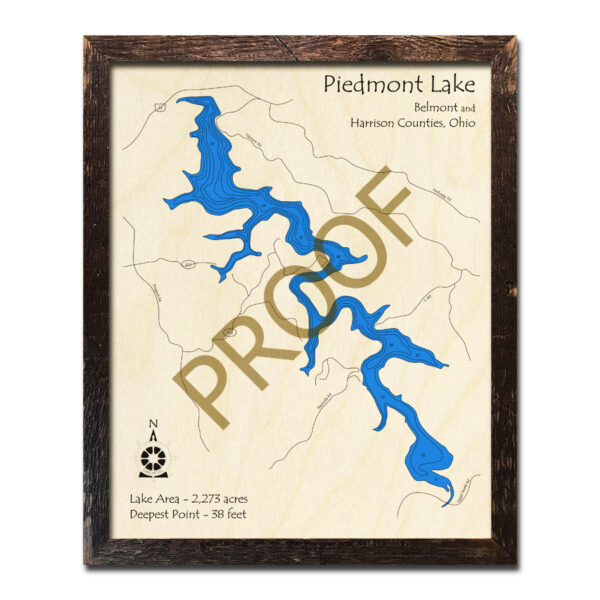 Piedmont Lake 3d wood map