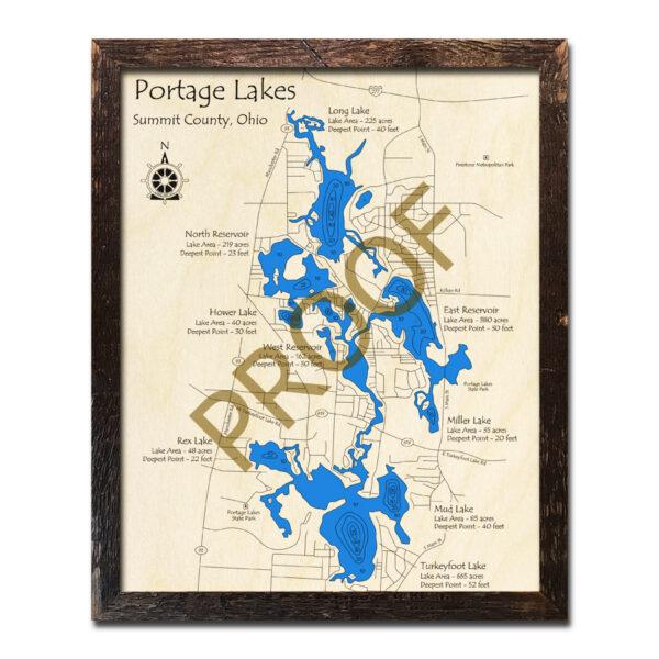 Portage Lakes 3d wood map