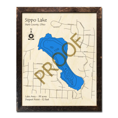 Sippo Lake 3d wood map