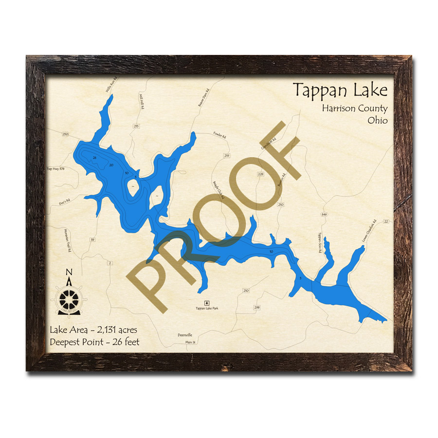 Tappan Lake Oh 3d Wood Map Laser Etched Nautical Decor