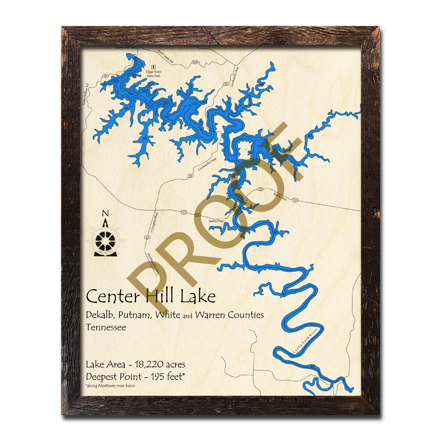 Center Hill Lake Tennessee Map.Center Hill Lake Tn 3d Wood Map Laser Etched Wood Charts
