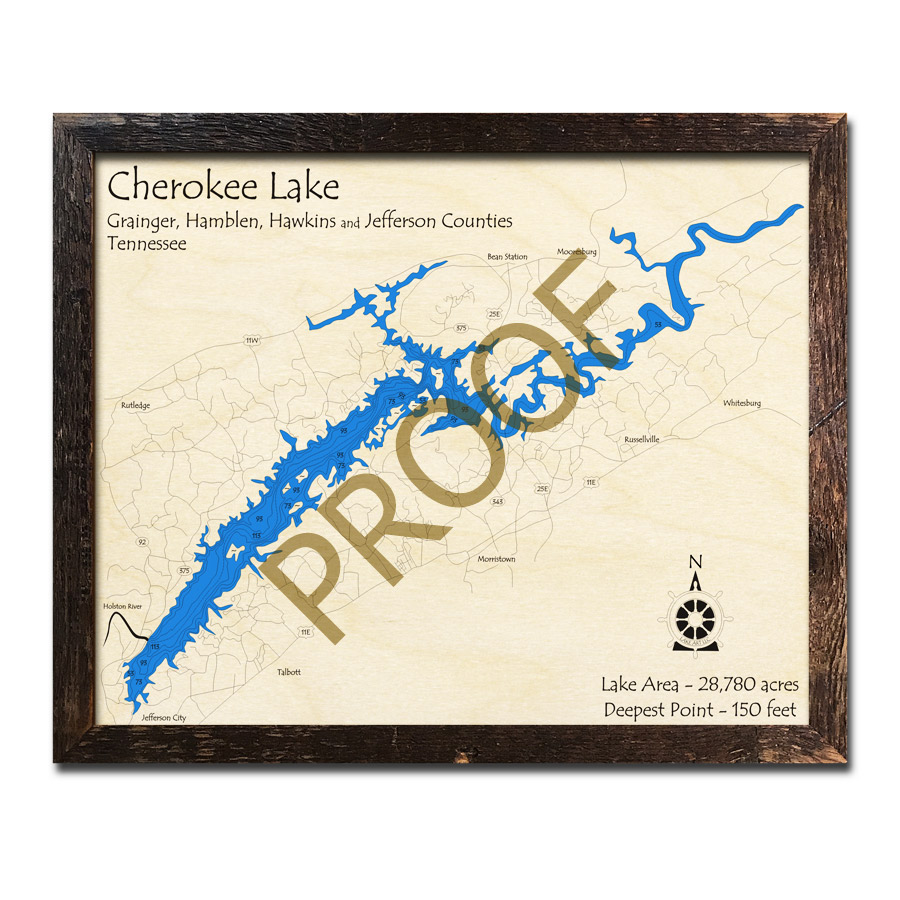 Cherokee Lake, TN 3D Wood Map | Laser-etched Wood Charts on