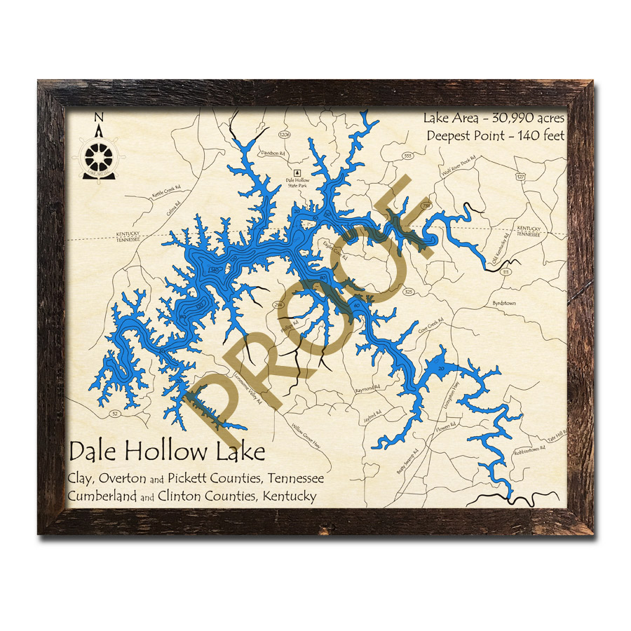 Dale Hollow Lake, TN 3D Wood Map | Laser-etched Wood Charts