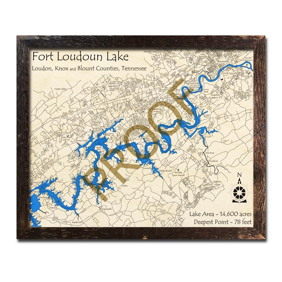 fort loudoun lake map Fort Loudoun Lake Tn 3d Wood Map Laser Etched Wood Charts fort loudoun lake map