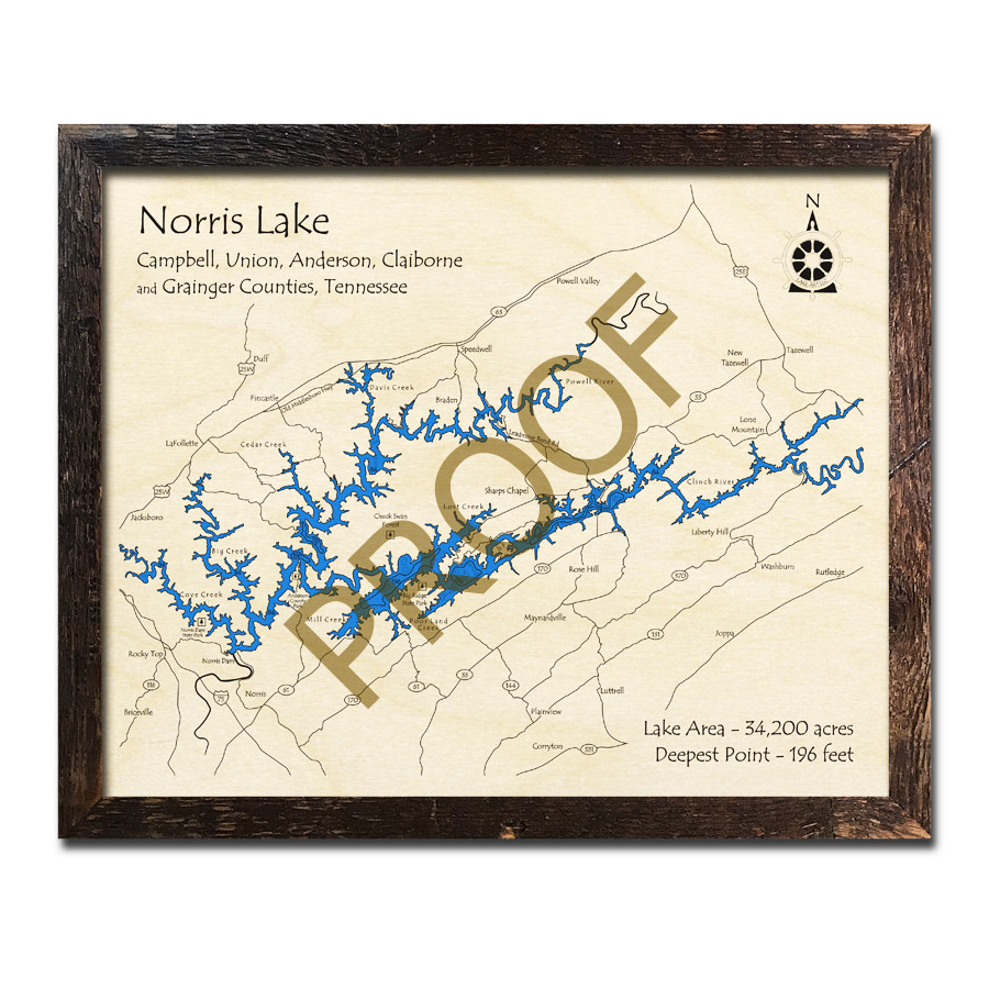 Norris Lake Tennessee Map.Norris Lake Tn 3d Wood Map Laser Etched Wood Charts