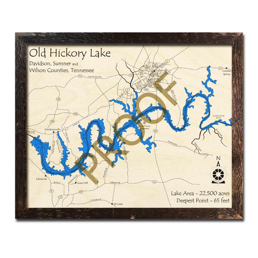 Old Hickory Lake Topographic Map.Old Hickory Lake Tn 3d Wood Map Laser Etched Wood Charts