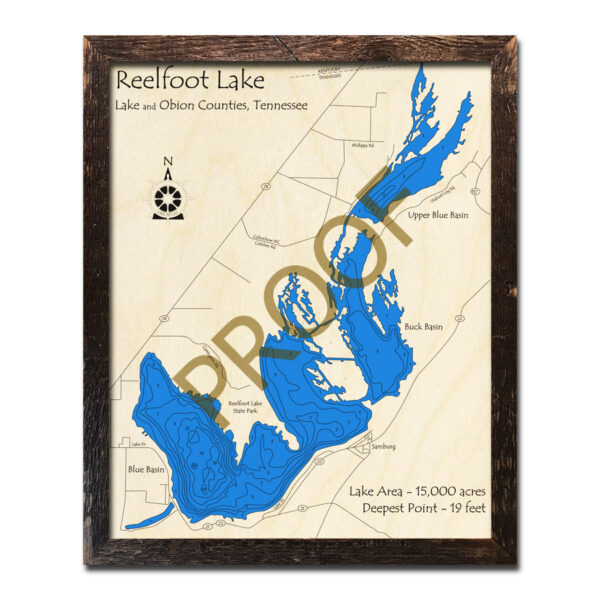 Reelfoot Lake, TN 3D Wood Map | Laser-etched Wood Charts