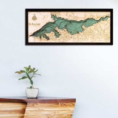 Big Bear Lake map, Big Bear Lake 3d wood poster