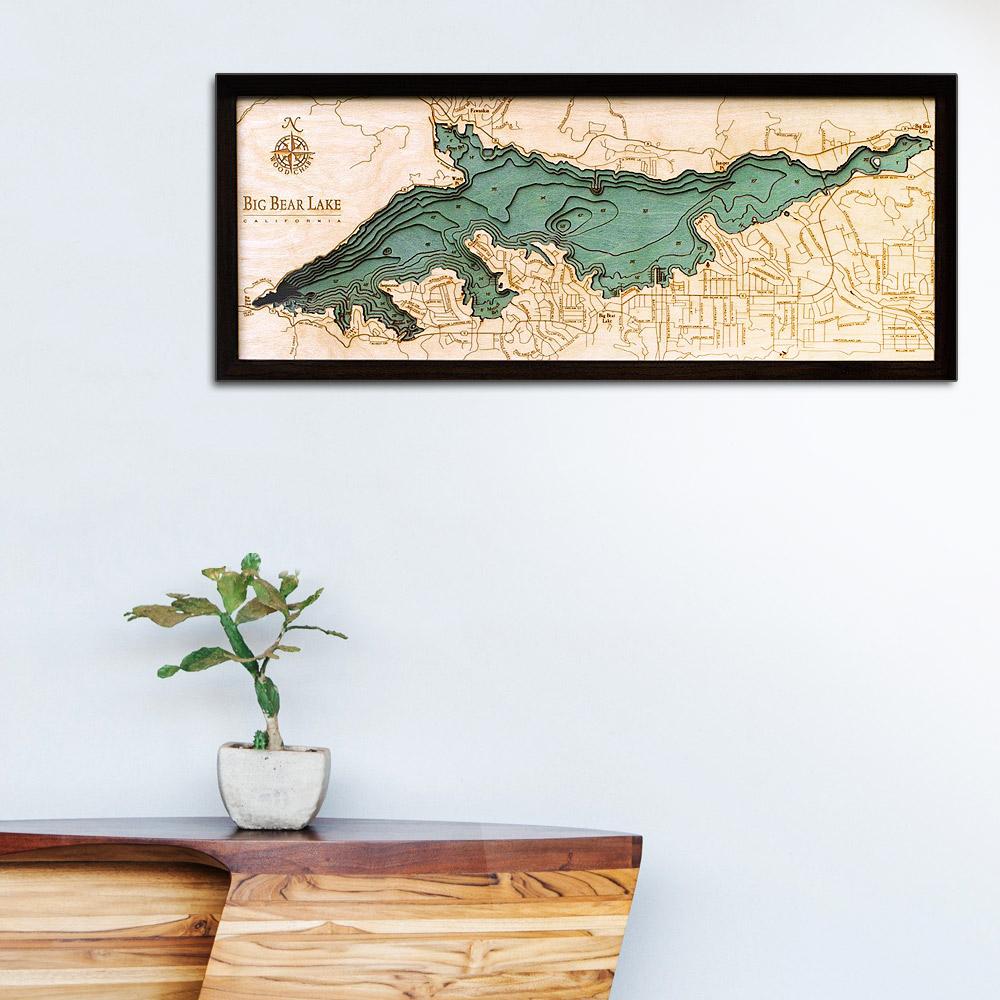 Big Bear Lake Wood Map | Framed 3D Topographic Wood Chart, 13 5
