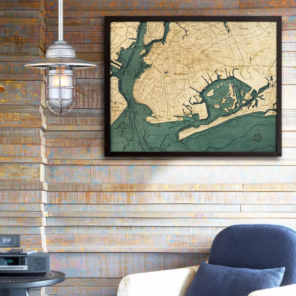 Map Of New York 3d.Brooklyn New York 3d Nautical Wood Map 24 5 X 31