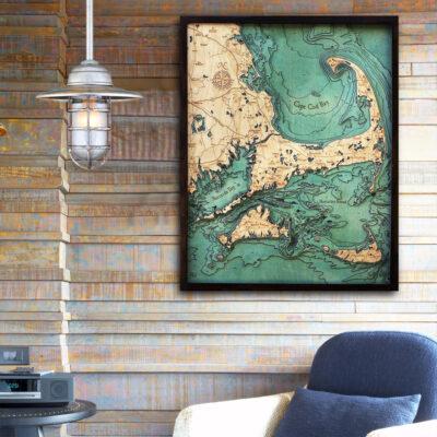 cape cod 3d wood map, nautical decor