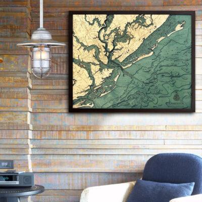 charleston sc 3d wood map