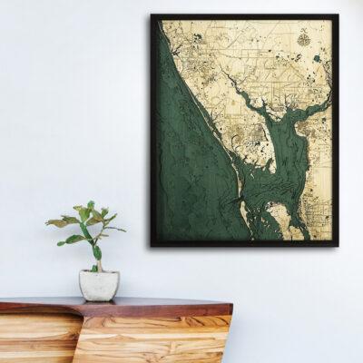 Charlotte Harbor 3d wood map, Charlotte Harbor poster
