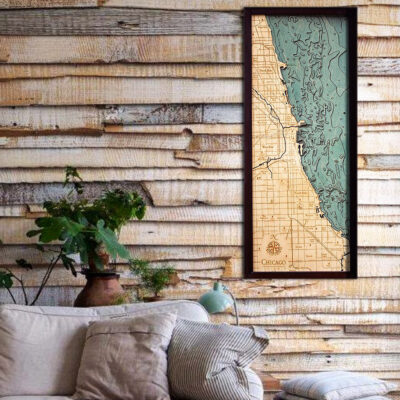 Chicago 3d wood map with Lake Michigan, posters, wall art