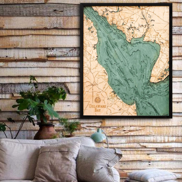 Delaware Bay 3d wood map, Delaware Bay poster wall art