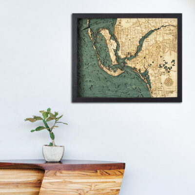 Fort Myers 3d wood map, Fort Myers poster, Fort Myers wall art