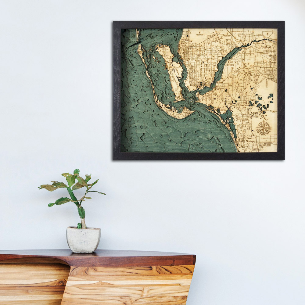 Map Fort Myers Florida.Fort Myers Wood Map Framed 3d Topographic Wood Chart 16 X 20